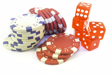 Casino chips and dice. Color image