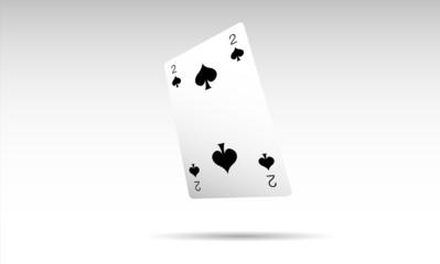 due picche, 2, poker, carta, gioco, sconfitta