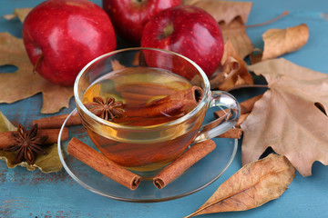Composition of  apple cider with cinnamon sticks, fresh red