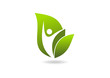 Healthy leaf body logo, abstract success fit iconVector