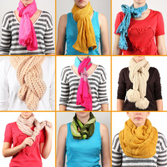 Different ways to tie scarves. Woman wearing scarves