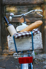 Bicycle with picnic snack in wooden box