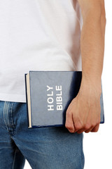 Man holding Bible close up