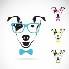 Vector image of a dog (Bull terrier) glasses