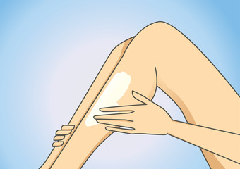 women hand put on some body lotion to leg