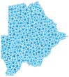 Map of Botswana - Africa - in a mosaic of blue bubbles
