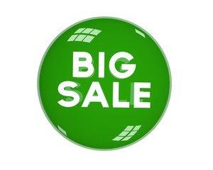 Word big discount in green bowl. 3D illustration