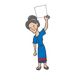 Old woman blank sheet cartoon