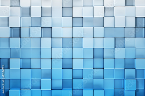 canvas print picture Blue blocks abstract background