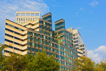 Office buildings in Arlington, Virginia on autumn morning