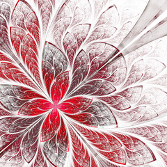 Symmetrical flower pattern in stained-glass window style. Red an