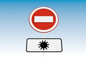virus epidemic danger relative background with road sign