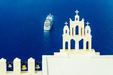 FIRA,GREECE-SEPTEMBER,02,2014:photo of greek church in Fira,Sant
