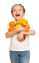 little girl with armful fruits