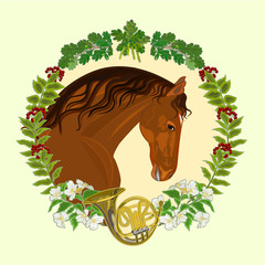 Horse dark chestnut  hunting theme vector