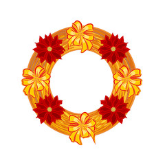 Christmas wearing straw wreath with poinsettia and bows vector