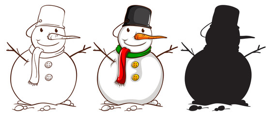 Three sketches of a snowman