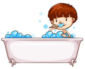 A simple sketch of a boy bathing