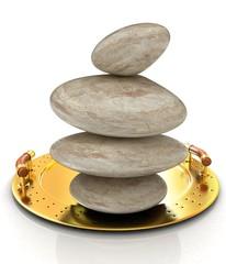 Spa stones on tray