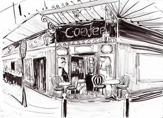 hand draw paris coffee shop