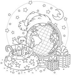 Santa Claus hat, Christmas gifts and globe