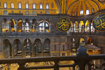 Mosaic interior in Hagia Sophia at Istanbul Turkey