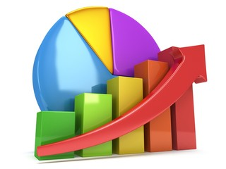 Bar graph with red arrow and pie chart