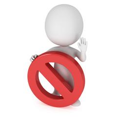3D man with forbidden sign