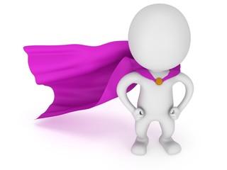 3d man - brave superhero with purple cloak