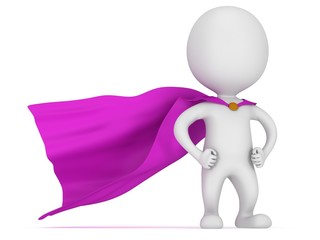 3d man - brave superhero with purple cloak