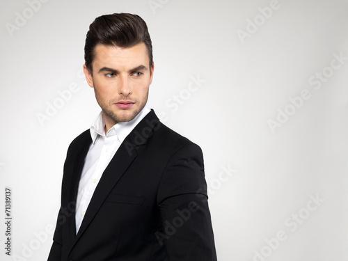 canvas print picture Closeup face of a fashion businessman in suit