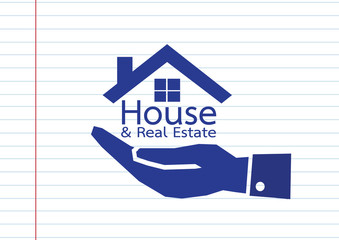 Hand and Home icon Real estate concept