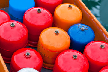 Bright metal gas bottles