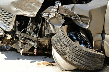 Vehicle damage following a two car crash with injuries