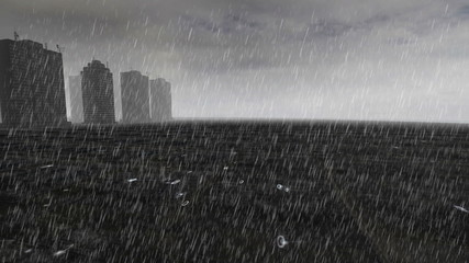 Skyscrapers over cement island with gray fog with heavy rain