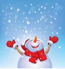 Vector happy snowman and snowfall.