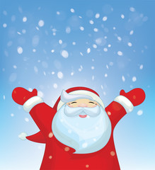 Vector happy Santa Claus and snowfall.