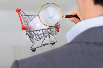 Businessman inspecting shopping cart