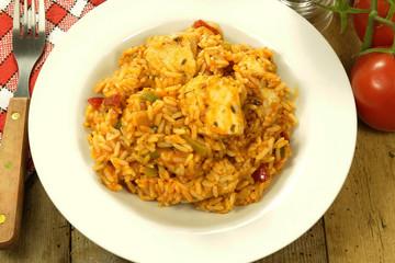 riz et poulet basquaise