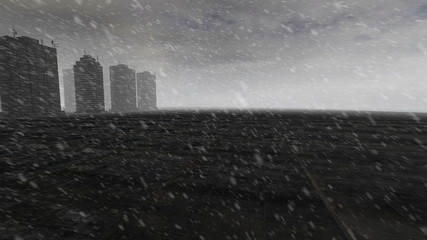 Skyscrapers over cement island with gray fog with snow