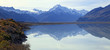 panoramic of mount cook and refection on lake pukaki
