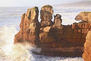 pancake rock canyon at western coast in New Zealand