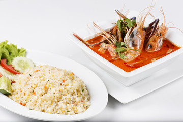 Fried rice and sour and spicy of shrimp soup