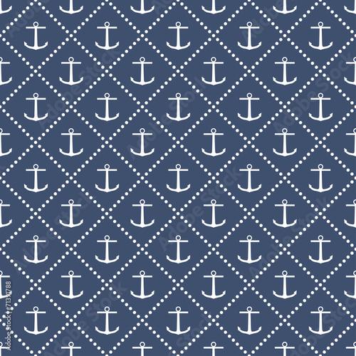 Cotton fabric Anchor seamless pattern