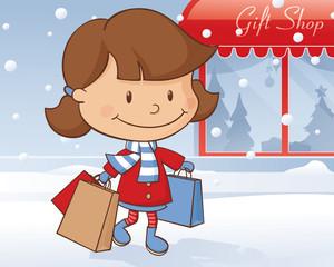 Winter Day Shopping Girl