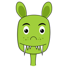 Cute monster cartoon face
