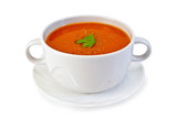 Fototapety Soup tomato in white bowl with parsley