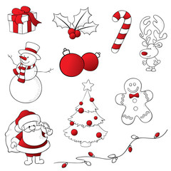 Red and White Sketchy Christmas Icons