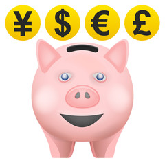 pig treassure in front view with currency coins vector