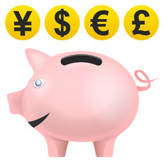 pig treassure in side view with currency coins vector